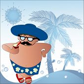 At the beach - cartoon fat man with drink
