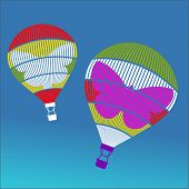 hotair balloons with butterfly motif