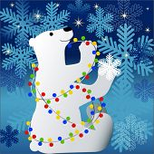 polar bear with christmas lights stars and snowflakes