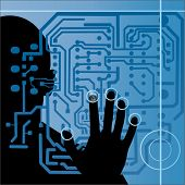 circuit board with silhouette of male hand
