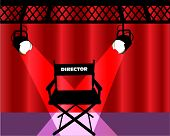 director's chair with curtains and lights