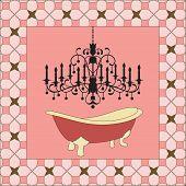 Antique bathtub with chandelier (full pattern behind)