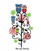 Family tree flowers and owls - crown on Mama owl