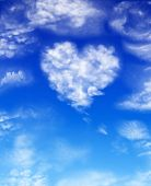 Heart from clouds on a background blue sky