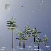 Santa flying over a Christmas forest