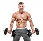 Muscular Bodybuilder Guy Doing Exercises With Dumbbell poster