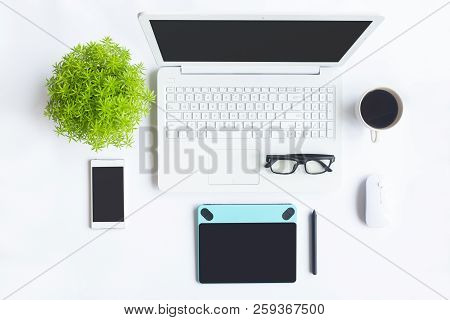 Top View Of An Desk Office Table  White Office Desk Top With Cup Of Coffee   Working On Desk And Offi poster