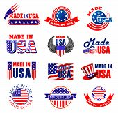 Made In Usa Icons, Premium Quality Goods And Product Manufacture. Vector Tags And Ribbon Labels Of A poster
