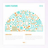 Fabric Feature Concept In Half Circle With Thin Line Icons: Leather, Textile, Cotton, Wool, Waterpro poster
