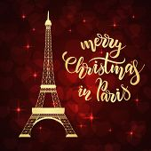 Merry Christmas In Paris Lettering And Eiffel Tower On Red Background With Hearts. Vector Illustrati poster