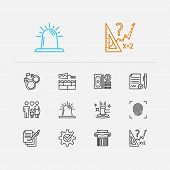 Law Icons Set. Auction And Law Icons With Math, Handcuff, Compliance. Set Of Contact For Web App Log poster