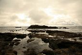 tide pools and rocks on the coast of Laguna Beach in Southern California on a rainy day