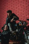 Road Trip. Road Trip With Sexy Couple In Love. Road Trip On Motorbike. Biker Couple Has Road Trip. T poster