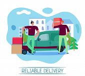 Reliable Delivery Service Concept With Transportation Symbols Flat Vector Illustration poster