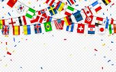 Colorful Flags Garland Of Different Countries Of The Europe And World With Confetti. Festive Garland poster