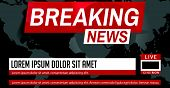 Breaking News. World News. Breaking News On World Map Background. Business / Technology News Backgro poster