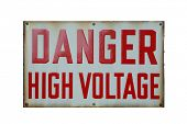 DANGER High Voltage sign isolated on white with room for your text