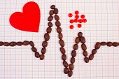 Electrocardiogram Line Of Roasted Coffee Grains, Red Heart And Supplement Pills On Graph Paper, Ecg  poster
