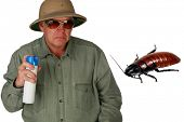 a man in a pith helmet sprays Bug Spray towards a giant cockroach with