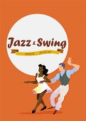 Jazz And Swing. Poster For Dance Festival. Flyer Or Element Of Advertizing For Social Dances. Dance  poster