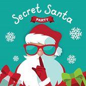 Secret Santa Party Template Design On A Blue Background poster