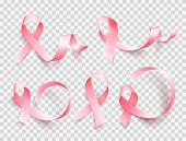 Big Set Of Pink Ribbons Isolated Over Transparent Background. Symbol Of Breast Cancer Awareness Mont poster