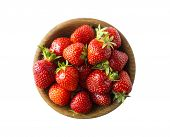 Top View. Bowls With Strawberries Isolated On White Background. Ripe Strawberries With A Basil Leaf  poster