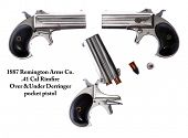 stock photo of derringer pistol  - Genuine Antique 1887 Double Derringer  - JPG