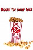 pop corn, caramel corn, snack, hot popcorn - a box of fresh popped Caramel Corn also known as Caramel corn or Caramel Popcorn. isolated on white with room for your text poster