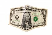 Real us currency folded, streched and photographed with a 14mm fisheye lens.  Isolated on white with