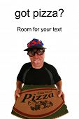 A funny happy pizza delivery man delivering a hot, fresh  pizza to you the hungry customer. Isolated