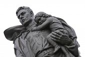 Huge statue of a Russian soldier holding a German girl at the heart of the Soviet War Memorial in Tr