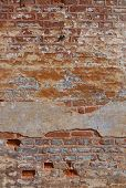 Old brick wall of a barrack of a nazi police prison in Terezin, Czech Republic