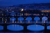 The bridges over the Vltava river in Prague, Czech Republic, at night