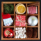 Wooden Box With Christmas Objects. Wooden Box With Christmas Objects. poster