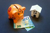 Euro Banknotes, Piggy Bank And Symbolic Miniature White Toy House. Buying Property And Mortgage. Sav poster