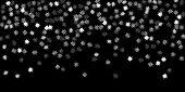Abstract Silver Star Of Confetti. Falling Starry Background. Random Stars Shine On A Black Backgroun poster
