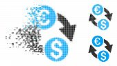 Euro Dollar Change Icon In Dispersed, Pixelated Halftone And Solid Variants. Points Are Grouped Into poster