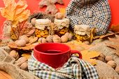 Natural Homemade Treats Autumn Season Keep Healthy. Hat Scarf And Honey Natural Sweets In Jars Near  poster
