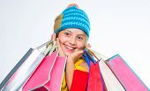Girl Amazed Face Knitted Hat Hold Shopping Bags White Background. Amazing Shopping Concept. Buy Clot poster