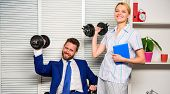 Good Job Concept. Boss Businessman And Office Manager Raise Hand With Dumbbells. Strong Business Tea poster