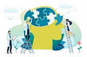 Mental Health Concept. Solving Mental Problems. Psychotherapy And Help. Vector poster