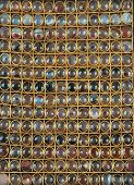 Collection of semi-precious stones put in golden rings