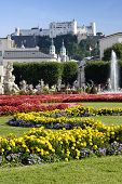 View at Austrian citySalzburg castle from the gardens