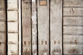Detail of ancient book backbones - tomes about law in latin