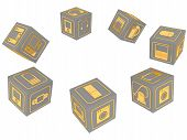 Cubes With Symbols Of Household Electronic Equipment. Gray Cubes With Gold Symbols Of Consumer Elect poster