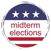 Usa Politics News Badge: Midterm Elections Button With Us Flag, Illustration, White Background poster