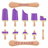 Vector Illustration Logo For Natural Grape Ice Cream On Stick. Ice Cream Pattern Consisting Of Sweet poster