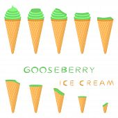 Vector Illustration For Natural Gooseberry Ice Cream On Waffle Cone. Ice Cream Pattern Consisting Of poster