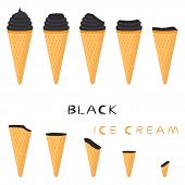 Vector Illustration For Natural Black Ice Cream On Waffle Cone. Ice Cream Pattern Consisting Of Swee poster